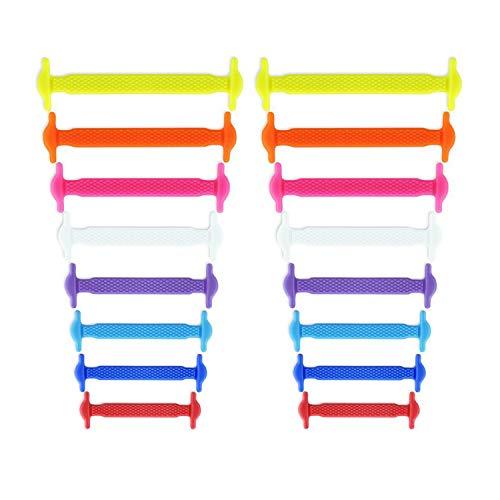 Newkeen sin corbata Cordones de zapatos para niños y adultos cordones de zapatos de atletismo atlética de silicona elástico plano de los zapatos del tablero Sneaker boots (Mix Color)