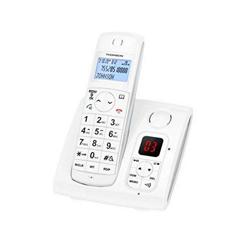 Thomson TH-550D2RWHT - Teléfono (Teléfono DECT, Terminal inalámbrico, Altavoz, 50 entradas, Blanco)