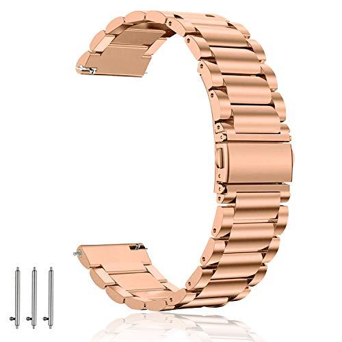 Aimtel 18mm Armband Kompatibel mit Fossil Gen 4 Q Venture HR Armband/Gen 3 Q Venture/Fossil Sport/Michael Kors Damen, 18mm Metall Armband Uhrenarmband (Roségold)