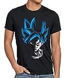 style3 Super Goku Blue God Modus Herren Anime T-Shirt Training Son Kame Kopf Z Saiyajin Schwarz, Größe:M, Farbe:Schwarz