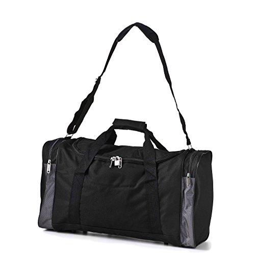 5 Cities extragroßes superleichtes Reisegepäck Bordgepäck Handgepäck, ideal für Wochenend-/Kurztrips, Sport- und Trainingstasche mit Schulterriemen – 3 Jahre Garantie (Schwarz)
