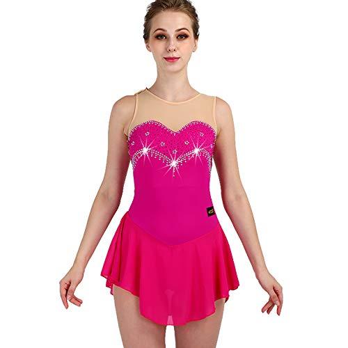 Skating dress Eiskunstlauf-Kleid-Frauen Ärmel Elastizität Strass Rose Red Mädchen Schlittschuh Kleid Berufsbekleidung,XXL