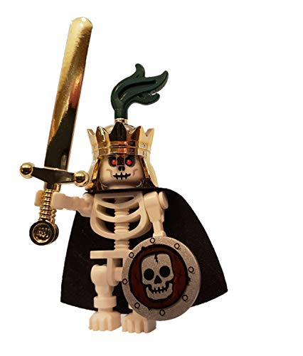 Skeleton King - LEGO Castle Minifigure with Crown, Sword and Shield