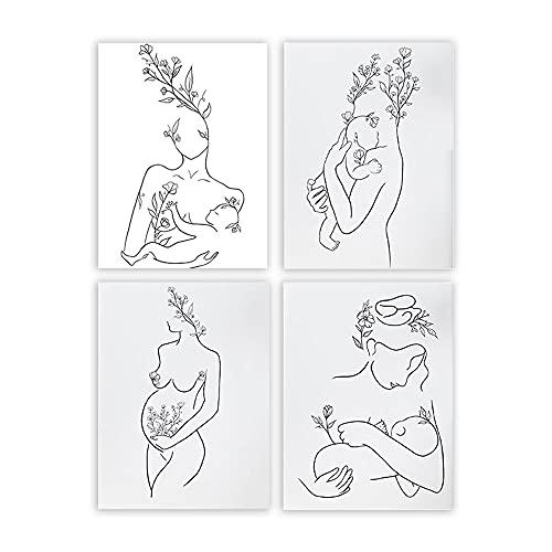 YFFYSY 4 Piezas Madre Y Bebé Flores PóSter Abstracto Dibujo Lineal Pared Arte Minimalista Embarazo Lienzo Impresiones Negro Blanco Cuadro NóRdico Pinturas Hogar Decoracion 20x27cmx4 Sin Marco