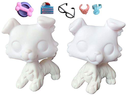 Judylovelps lps Collie White Molds (2pcs) White Base Collie for Custom Paint Your Own Design Puppy