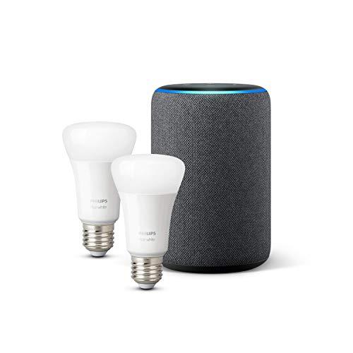 Amazon Echo (3ª generazione), Tessuto antracite + Lampadine intelligenti a LED Philips Hue White, confezione da 2 lampadine, compatibili con Bluetooth e Zigbee (non è necessario un hub)
