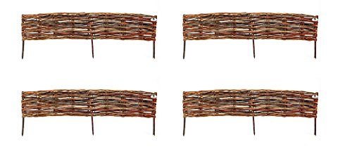 Ruddings Wood Pack of 4 x Traditional Willow Edging 1.2m Garden Border Fencing - Woven Lawn Hurdle Edge Fence