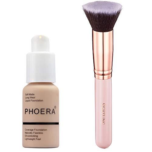 PHOERA 30ml Concealer Cover, Flüssigmatt Full Coverage Concealer Shadows Skin Care Cover Foundation...