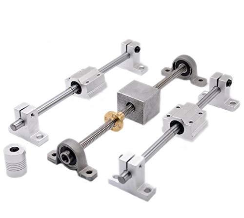 XBaofu 1set 3D-Drucker Führungsschiene Sätze T8 Leitspindel Länge 500mm + linear Welle 8 * 500mm + KP08 SK8 SC8UU + Muttergehäuse + + Kupplung Schrittmotor (Farbe : Lead 2mm no Motor, Größe : 500mm)
