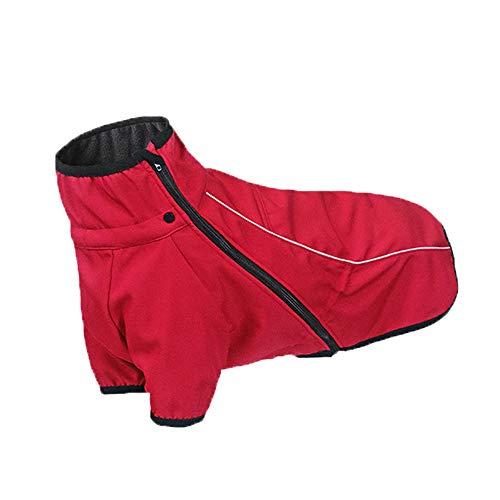 ubest Outdoor Hundemantel, Winddichte Hundejacke Wasserabweisend mit Fleece Gefütterte Warme Winterjacken Wintermäntel für Hunde, Rot, XL