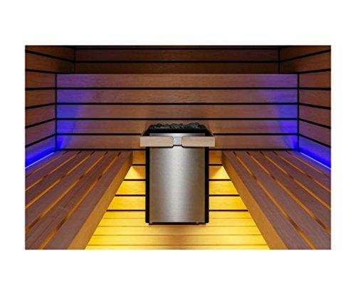 Sentiotec Saunaofen Concept R Mini 4,5 KW für Badezimmer Sauna inkl. Saunasteine mit Ofenreling Nuss inkl. Halterung mit Saunasteine