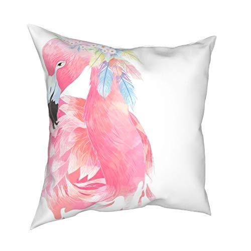 Reebos Fundas de almohada, elegantes flamencos rosados, acuarelas, para sofá, sala de estar, cama, 45,7 x 45,7 cm