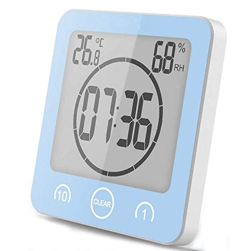 VORRINC Badezimmeruhr Digital Wecker Uhr Badezimmer Dusche Saugnapf Shower Clock mit LCD Display Luftfeuchtigkeit Temperatur Wanduhren,Countdown Timer Für Dusche Küche (Blau)