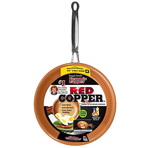 Red Copper 10 inch Pan by BulbHead Ceramic Copper Infused...