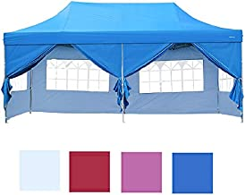 LEISURELIFE Outdoor Pop Up 10'x20' Party Tent with Sidewalls 6 PCS - Folding Commercial Gazebo Canopy Tent Blue with Wheeled Carry Bag