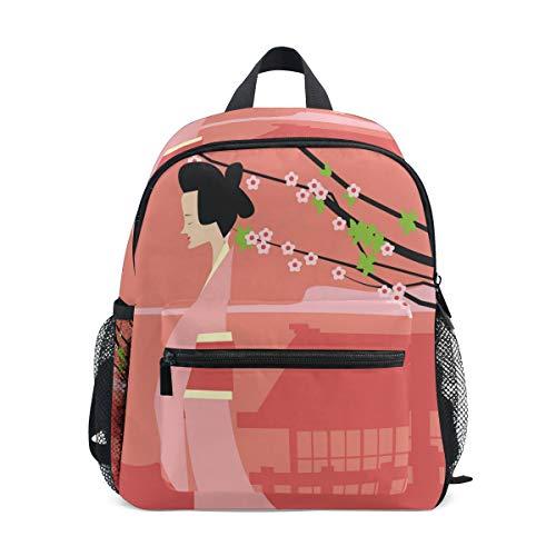 FANTAZIO Backpack Elementary School Japanese Girl And Plum Blossom Bookbag