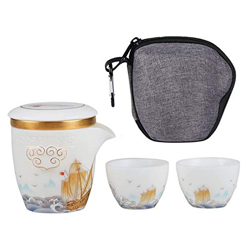 LLSS Juego de té de cerámica de Viaje portátil, Tetera integrada de Cordero de Jade y Porcelana Blanca Juego de Tazas de té de Kung fu, una Tetera y Dos Tazas