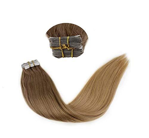 [20% Descuento + Envío Rápido] LaaVoo Tape in Hair Extensions Marron Claro Balayage Rubio Oscuro Natural de Extensiones de Pelo Natural Remy Humanas 2,5GR 20PCS 20