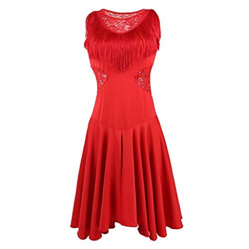Hellery Mesdames Danse Latine Gland Robe Femmes Tango Jupe Costume Latin - Rouge - Rouge, L