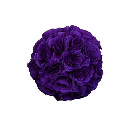 Shuohu 7″ Flower Kissing Ball Wedding Silk Rose Balls Party Pomander Home Holiday Decor Size 18cm Silk Flower Arrangements