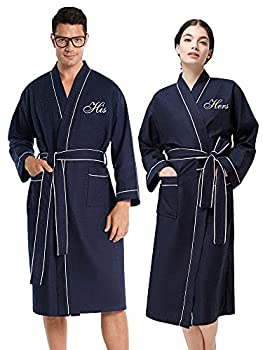 AW BRIDAL Womens Mens Waffle Robe Long Cotton Robes Kimono Spa Robes Unisex Wedding Gift Navy His and Hers Robes for Couples Set 2PCS