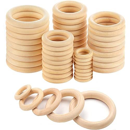 Holzring, 50 Stück Natürlich Holz Ringe Holzringe zum Basteln Hölzern Kunst Unvollendete Ring Kreis Holzringe für DIY Schmuck Herstellung Makramee Handwerk Baby Spielzeug 5 Größen