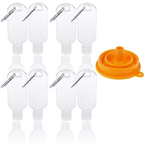 8 botellas de viaje con llavero gancho botella, 2 oz/50 ml, botellas de plástico vacías recargables con embudo plegable de silicona (plata)