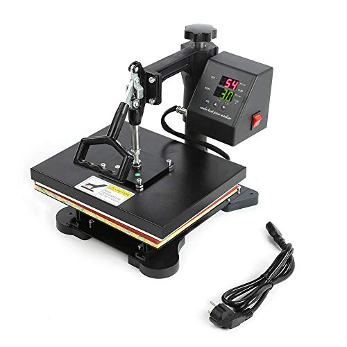 Máquina de prensa de calor de camiseta manual digital de doble pantalla de alta presión negra