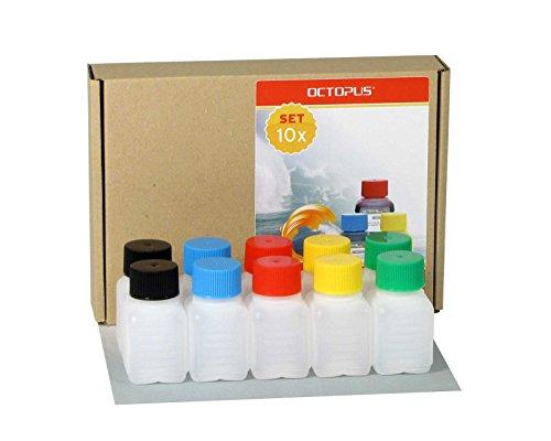 10 x 50 ml bottiglie in plastica Octopus, bottiglie in plastica HDPE con tappi a vite variopinti, bottiglie vuote con coperchi a vite colorati, bottiglie quadre con 10 etichette compilabili incluse