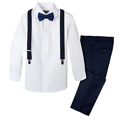 Black n Bianco Signature Boys' Slim Fit Suit in Navy Size 7