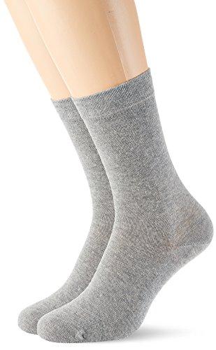 Schiesser Damen Damen (2PACK)  Matt Fein Socken,  Grau (Grau-Mel. 202),  35/38 ( Herstellergröße: 400) (2er Pack)