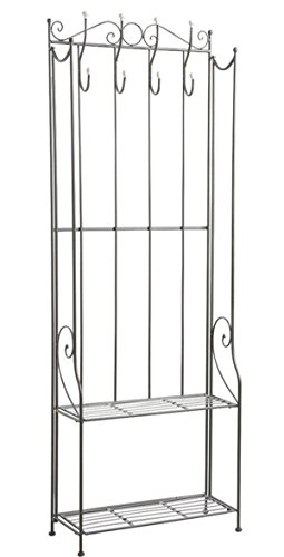 PEGANE Etagère Porte-Manteaux en métal Gris Anthracite, 59 x 24 x 167 cm