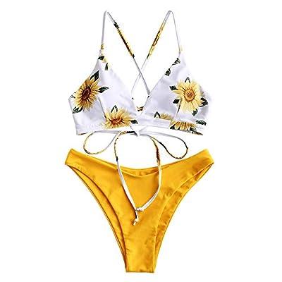ZAFUL Women Braided Straps Lace Up Bikini Set Bralette Swimsuit Flower Bathing Suit (Sunflower Yellow, S)
