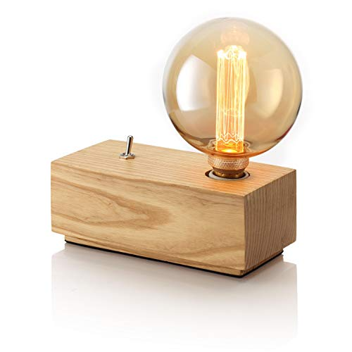 Auraglow Mysa Vintage Retro Holzblock Mechanischer Kippschalter Würfel Nachttisch Tischlampe/Licht
