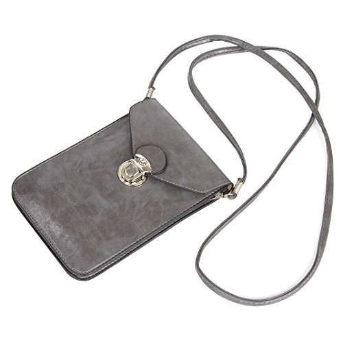 Asnlove PU Leder Crossbody Vintage Doppelschicht Geölt Smartphone Tasche Schulter Umhängetasche weiche Taille Tasche Mode Handtasche mit Langem Riemen Geeignet für Grosse Smartphones 6.3 Zoll