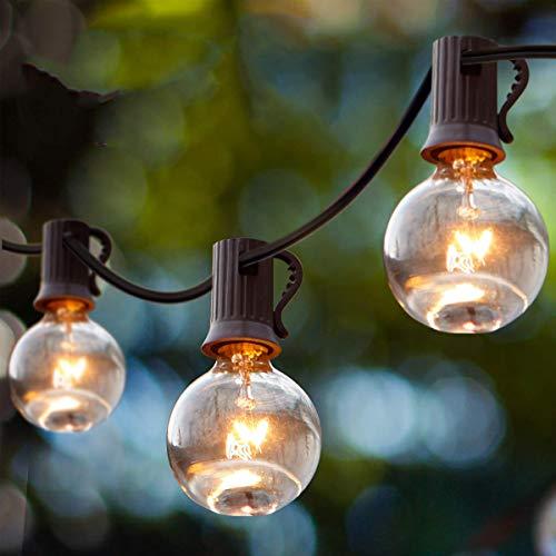 Guirnalda Luces Exterior, Guirnaldas Luminosas de Exterior y Interior 25 G40 Bombillas con 3 de Carga, Cadena Luces Decoracion para Habitación, Jardín, Bodas, Terraza, Césped, Balcón