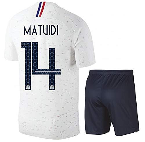YANDDN Fußball-Anzug für die Weltmeisterschaft 2018 in Frankreich Lemar 8# KIMPEMBE 3# MATUIDI 14# Erwachsene/Kinder/Polyester-14White