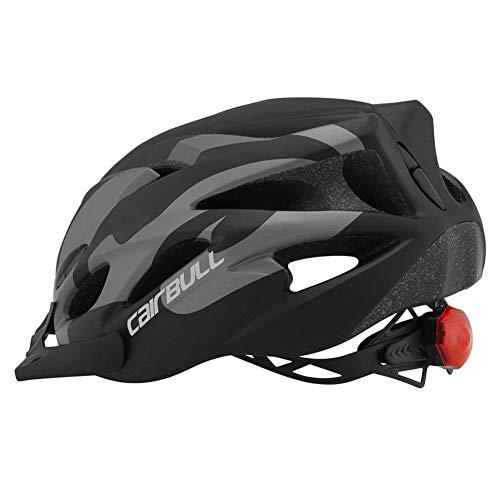 Persiverney Mountainbike-Helm Fahrradhelm mit Abnehmbarer Sonnenblende und Rücklicht, Einstellbarer sicherer Fahrradschutz Leichte Fahrradhelme für Erwachsene und Kinder (schwarz grau, M/L)