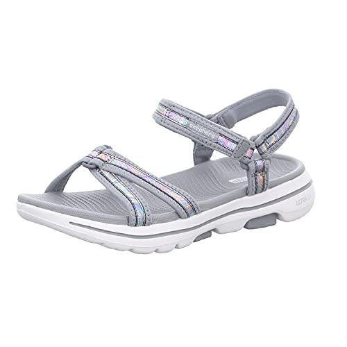 Skechers Damen Sandalen GO Walk 5 Celestial Grau, Schuhgröße:EUR 39