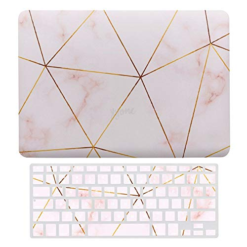 Laptop Case for MacBook New Pro 13' Touch (2020), Pink with Line, Plastic Hard Shell Cover & Keyboard Cover