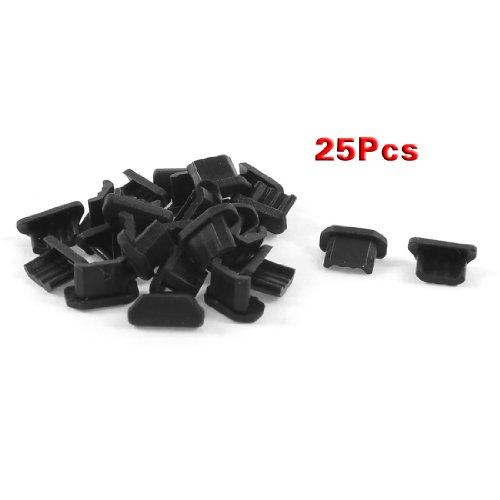 enchufe del polvo - SODIAL(R) 25pzs Tomas de oreja de puerto micro USB cubierta de muelle de plastico blando anti polvo negro