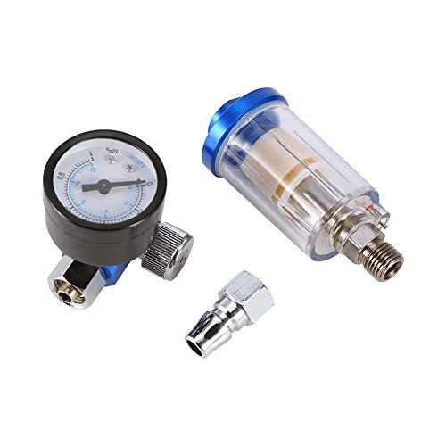 Heaveant Manómetro del regulador de Aire de la Pistola neumática Spray + Separador de Filtro de Trampa de Agua de Aceite en línea