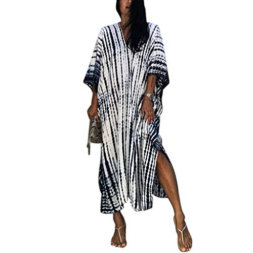 JIACUO Dam sommar plus size maxi kaftan batikfärgad randig tryck V-ringad boho hippie strandklänning överdimensionerad lös bikini baddräkt täcka upp myskläder