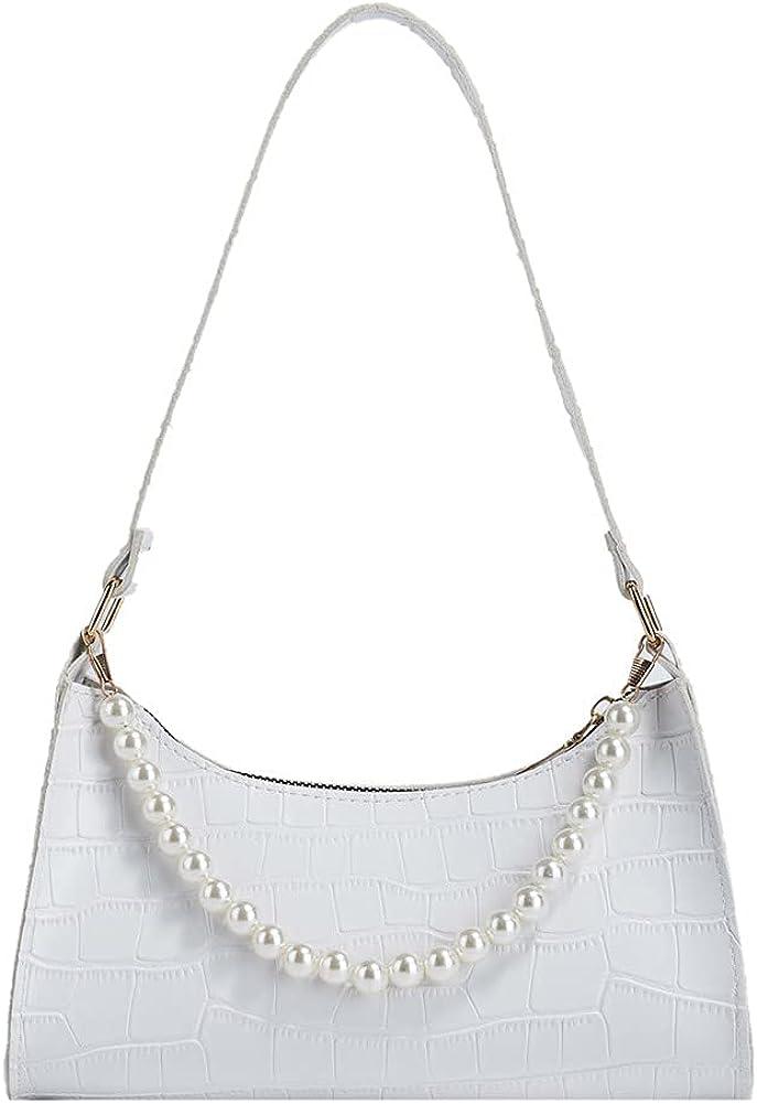 Underarm Bag for Women,Mini Shoulder Bag Y2k,Fashion Retro Crocodile Pattern Pu Bag with Pearl Chain