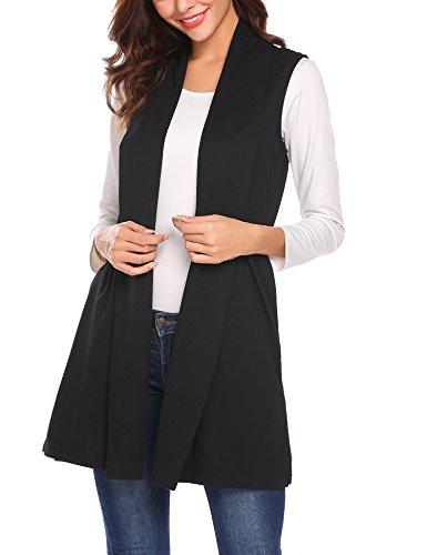 MAXMODA Strickjacke Damen Ärmellos Mantel Lang Jacke Weste mit Seitentasche für Sommer und Herbs,A-schwarz,XL