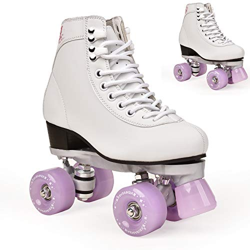 Adult Double-Row Roller Skates Four-Wheel Skates Adult Men and Women Outdoor Skates Shoes (Lavender,8.5)