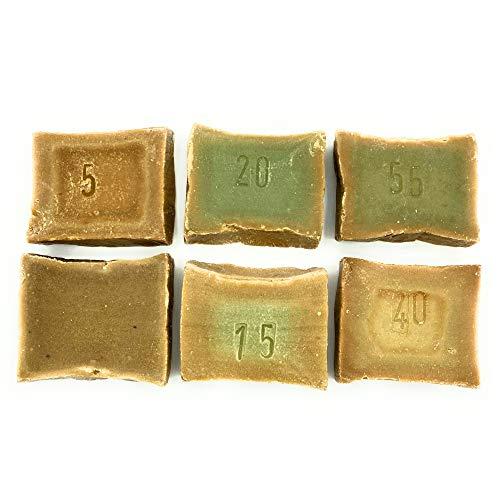 Introductiepakket origineel Aleppo Zeep Probeer pakket met 6x originele Aleppo zeep à 50g. diverse olijfoliezepen en laurieroliezepen natuurlijke zeep stuk zeep haarzeep wasstang gastenzeep
