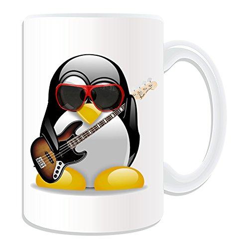 Disfraz de Pingüino de regalo con mensaje personalizado–Taza, diseño de guitarra eléctrica...