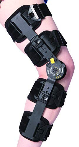 Telescoping Post Op Knee Brace, Hinged ROM Knee Brace for Recovery Stabilization, Adjustable Medical Orthopedic Support Stabilizer, Universal Standard, with Drop Lock Feature