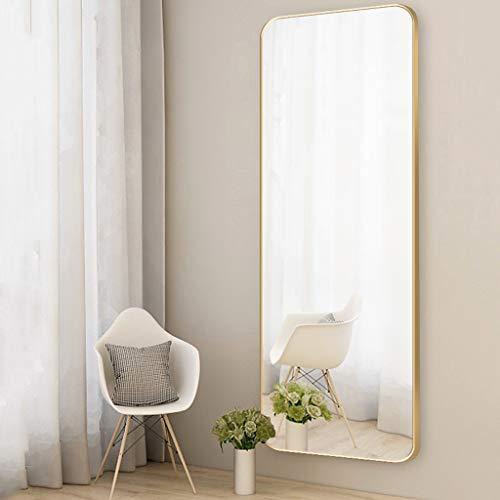 ZHANGHONG Spiegel Hängender Ganzkörperspiegel Rechteckrahmen aus gebürstetem Aluminiumlegierung Selbstklebender oder an der Wand montierter Dressing-Eingangsspiegel für die Garderobe
